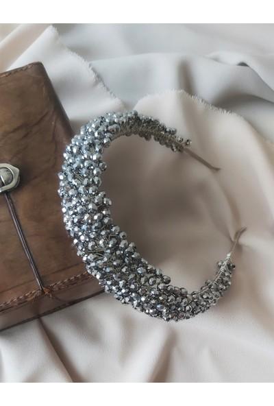 Gümüş Silver Boncuklu Taç - Gelin Tacı - Lohusa Tacı - Nişan Tacı