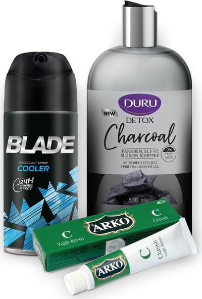 Blade Cooler Erkek Deodorant 150 ml ve Duru Deto x Charcoal Duş Jeli 500 ml ve Arko Krem Classic 20CC