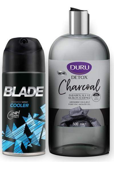 Blade Cooler Erkek Deodorant 150 ml ve Duru Deto x Charcoal Duş Jeli 500 ml