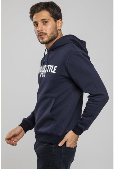 Mysport Erkek 3 Iplik Kışlık Lacivert Sweatshirt