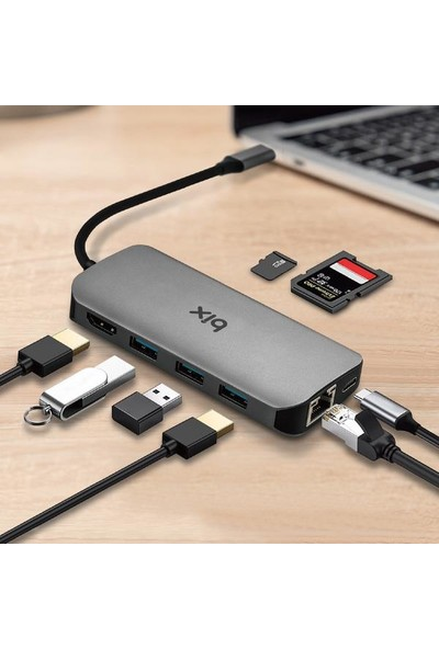 Bix Type-C To HDMI Ethernet USB 3.0 Pd Kart Okuyucu Dönüştürücü Adaptör