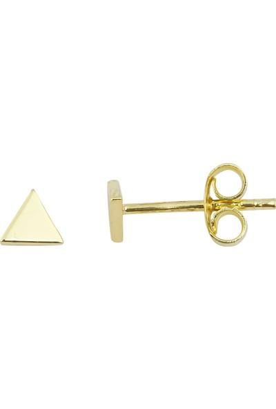 Melike Gold 14 Ayar Altın Minimalist Üçgen Küpe