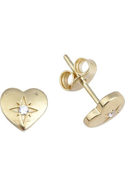 Melike Gold 14 Ayar Altın Taşlı Kalp Küpe
