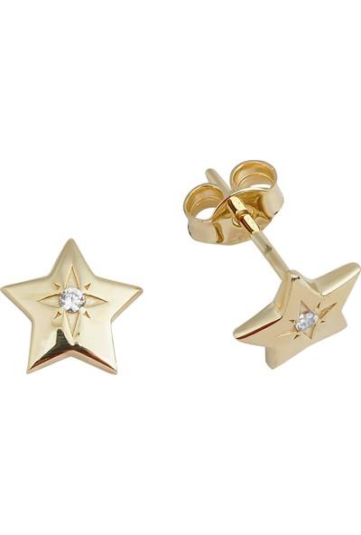 Melike Gold 14 Ayar Altın Tasarım Taşlı Yıldız Küpe