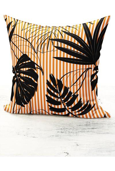 Bk Home Dekor Modern Siyah Devetabanı Yaprak Model Kırlent Kılıfı