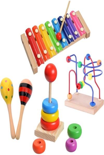 Hamaha Wooden Toys Ahşap 8 Nota Selefon Ksilofon+ Mini Helezon+ Marakas+ Kule Eğitici Oyuncak Set