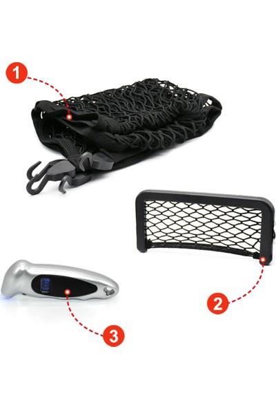 Tamam Elektronik Araç Içi Aksesuar Seti 3ü Bir Arada (Bagaj Ağı Lastikli Çantalı + Saklama Cep + Lastik Basınç Ölçer)