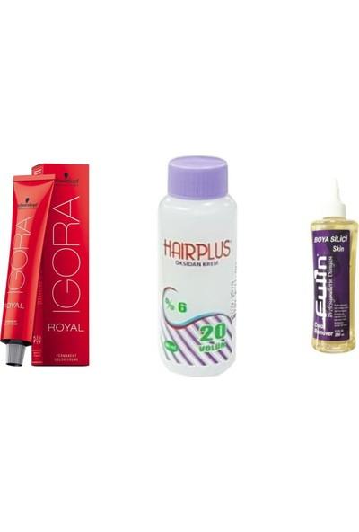 Igora Royal Saç Boyası 7.1 Küllü Kumral 60 ml + Hairplus Mini Oksidan 20 Vol + Fulin Boya Silici