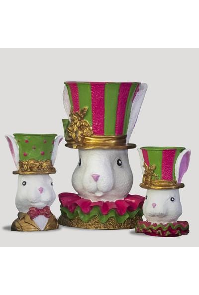 Mafs Design Beton Büyük Boy Tavşan Saksı Set