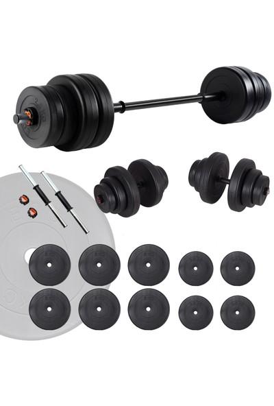 Ecgspor 45 kg Halter Seti ve Dambıl Seti Ağırlık Fitness Seti