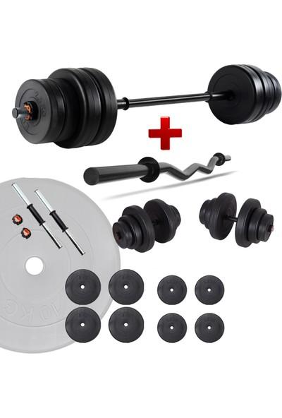 Ecgspor 38 kg Z Bar Halter Seti ve Dambıl Seti Ağırlık Fitness Seti