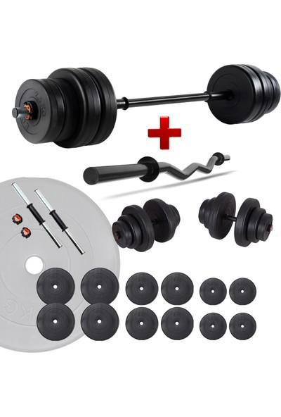 Ecgspor 78 kg Z Bar Halter Seti ve Dambıl Seti Ağırlık Fitness Seti