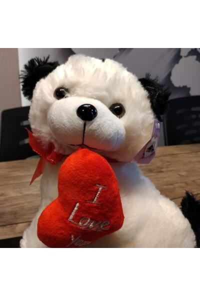 Yumurcak Kalp Yastıklı Beyaz Köpek 25 cm