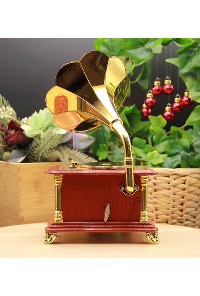 Hediye Biziz Nostaljik Gramafon Müzik ve Takı Kutusu Çekmeceli Büyük Boy