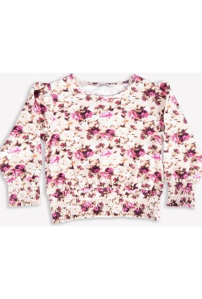 Ozmoz Kız Çocuk Çiçek Desenli Uzun Kollu Bluz