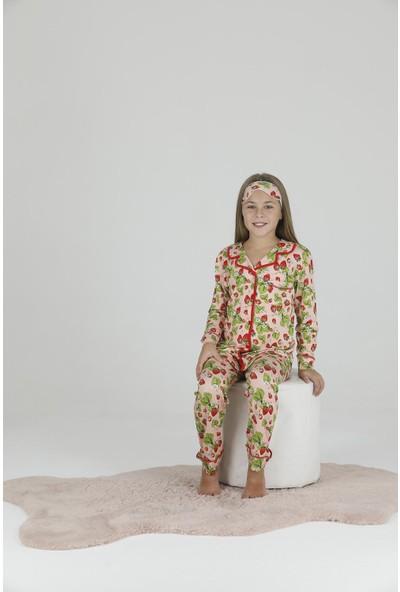Teknur Kız Çocuk Çilek Desenli Pijama Takımı 41603