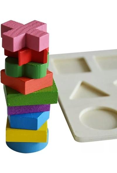 Hamaha Wooden Toys Ahşap Zeka Eğitici Tangram+Geometrik Şekiller+Bultak+Tırtıl+Kule 6'lı Set