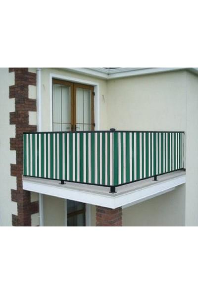 Ceylan Home Balkon Demiri Perdesi Bağcıklı Yeşil Çizgili