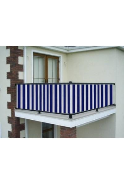 Ceylan Home Balkon Demiri Perdesi Bağcıklı Mavi Kalın Çizgili
