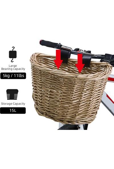 Lixada D-Şekilli Gidon Bisiklet Sepeti Vintage Hasır Ön Gidon