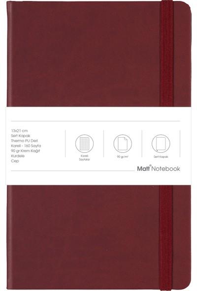 Matt Notebook Lastikli Defter Kareli 13 x 21 cm Bordo