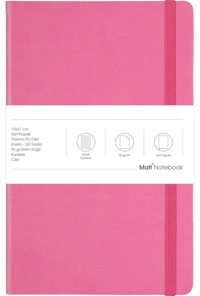 Matt Notebook Lastikli Defter Kareli 13 x 21 cm Pembe