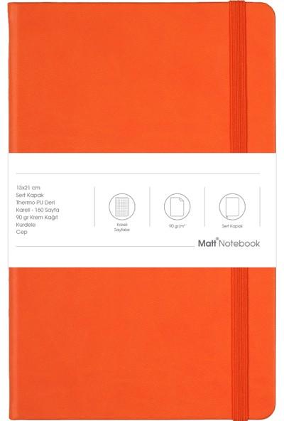 Matt Notebook Lastikli Defter Kareli 13 x 21 cm Turuncu
