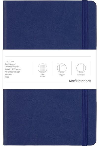 Matt Notebook Lastikli Defter Kareli 13 x 21 cm Lacivert