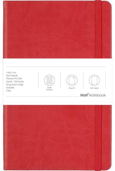 Matt Notebook Lastikli Defter Kareli 13 x 21 cm Kırmızı