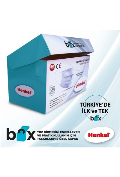 Henkel Üts Kayıtlı Henkel Meltblown 3 Katlı Ultrasonik Burun Telli Cerrahi Maske 50 x 4 Kutu