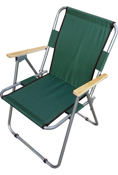 Tevalli Katlanır Piknik ve Kamp Sandalyesi Ahşap Kollu