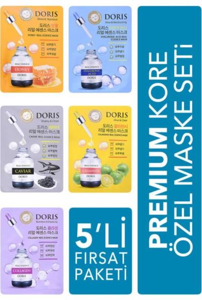 Doris 5'li Fırsat Paketi - Lüks Kore Maske Seti Collagen- Hyaluronic Acid- Caviar- Honey- Calamansi