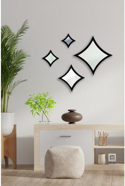 Hüma's Dekoratif Siyah 4 Parçalı Yıldız Ayna