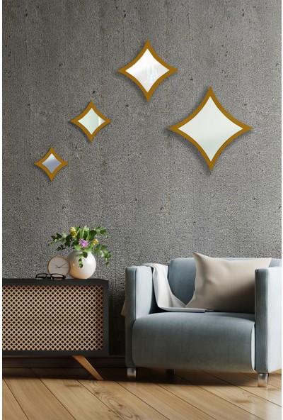 Hüma's Dekoratif Gold 4 Parçalı Yıldız Ayna