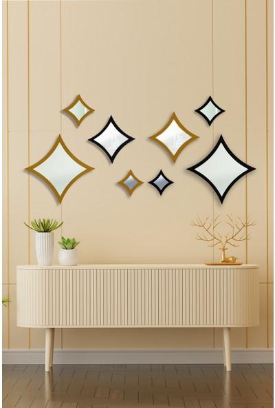 Hüma's Dekoratif Siyah & Gold 8 Parçalı Yıldız Ayna