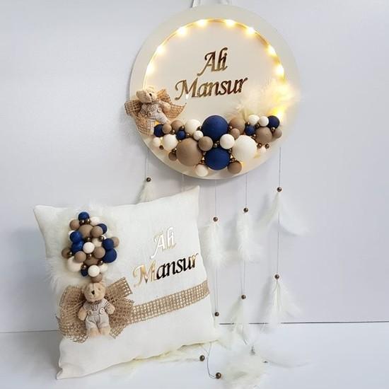 Baby Lüks LED Işıklı Bubble Kapı Süsü Ayıcıklı Yuvarlak ve Takı Yastığı Seti