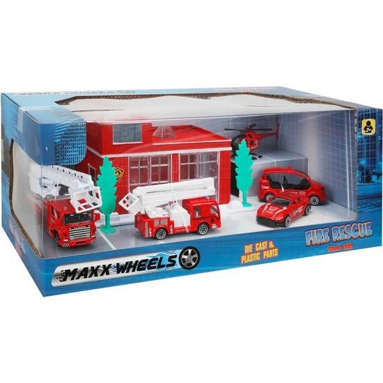 Maxx Wheels 5 Araçlı Garaj Seti - İtfaiye Araçları