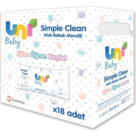 Uni Baby Simple Clean Islak Havlu 18'li 936 Yaprak