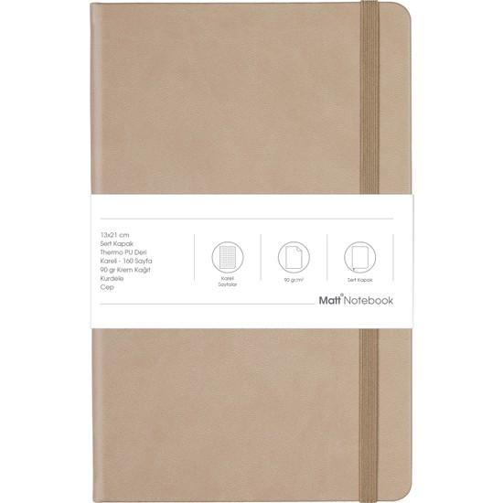 Matt Notebook Lastikli Defter Kareli 13 x 21 cm Bej