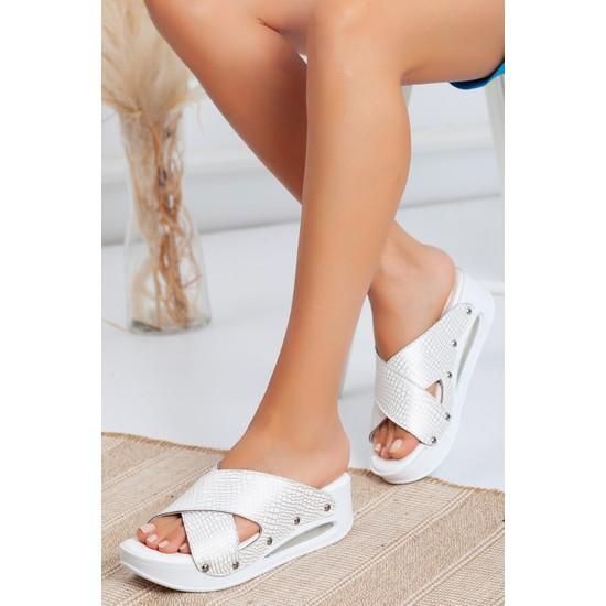 Nur Ortopedi Beyaz Gümüş Timsah Model Açık Airmax Kadın Sabo Terlik