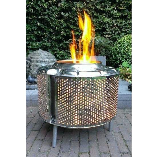 Karadağ Taşınabilir Ateş Çukuru Şömine Krom Çelik