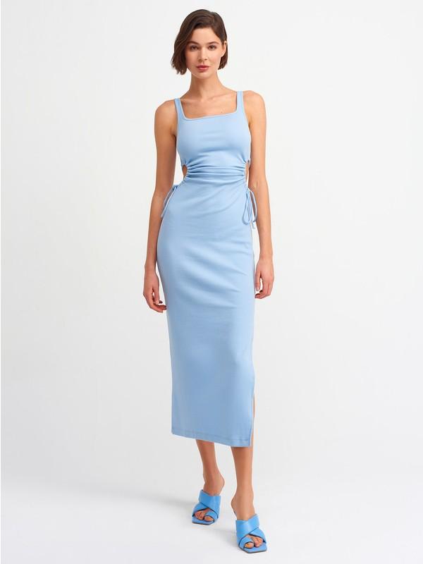 Dilvin 9094 Pencere Detaylı Uzun Elbise-Mavi