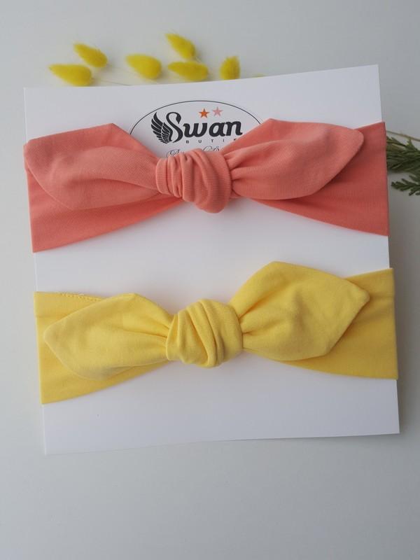 Swan Butik Kız Çocuk Bebek Bandana Toka Seti 2'li Şeftali, Sarı