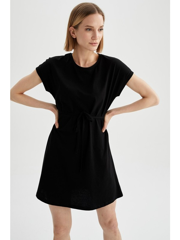 DeFacto Basic Beli Bağcıklı Elbise
