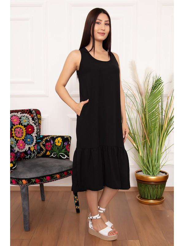 Kalopya Kadın Askılı Volanlı Elbise