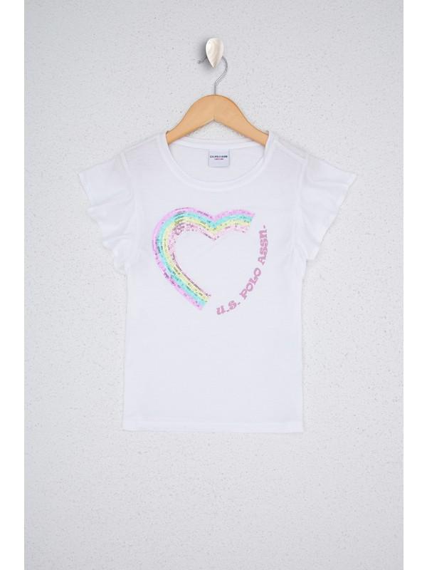 U.S. Polo Assn. Kız Çocuk Beyaz T-Shirt 50234798-VR013