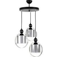 Luna Lighting Modern Luxury Çiftcamlı Gümüş 3'lü Sarkıt Avize