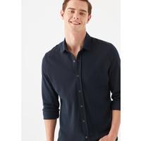 Mavi Erkek Lacivert Örme Gömlek 021638-32184