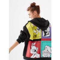 Mavi Kadın Bugs Bunny Baskılı Fermuarlı Siyah Sweatshirt 1600441-900