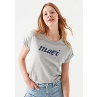 Mavi Kadın Mavi Logo Baskılı Gri Tişört 166422-25702